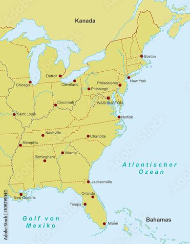 Karte Von Florida Westkuste.Ostkuste Der Usa Karte Stock Image And Royalty Free