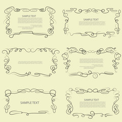 Caligraphic outline frames, vector set