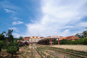 Ancient station is famous place, history destination for traveler, with railway, antique train transport tourist to visit in Dalat, Vietnam