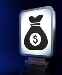 Business concept: Money Bag on billboard background