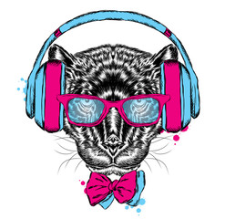 Black Panther headphones. Hipster. Vector illustration.