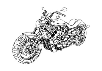 vector black motorcycle on a white background.