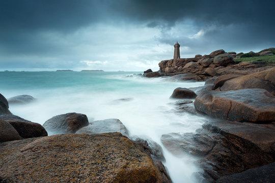 Lighthouse Men Ruiz in Ploumanach, Brittany, France