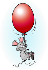 Mouse flying with a balloon cartoon illustration vector drawing