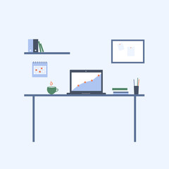 Home and office workplace. Workspace for studying, working . Vector flat illustration