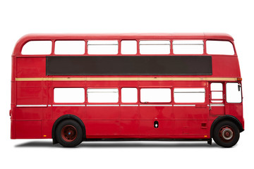 Zelfklevend Fotobehang Londen rode bus Red London bus, double decker on white, clipping path