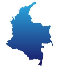 Karte von Kolumbien - Blau (einzeln)