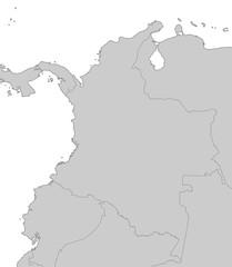 Karte von Kolumbien in Grau