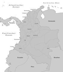 Karte von Kolumbien - Grau