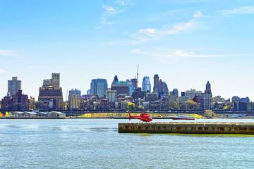 Helicopter on helipad in Pier 6 in Lower Manhattan