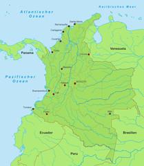 Karte von Kolumbien - Grün