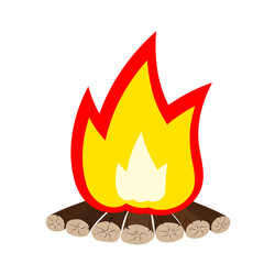 Tourist emblem - Illustration Cartoon fire is not white. Bonfire