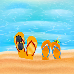 Two pairs slap on the seashore. Beach shoes on the sand with sun