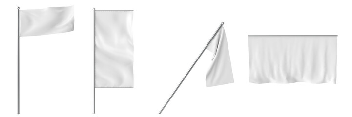 collection white flags and banners isolated on white.