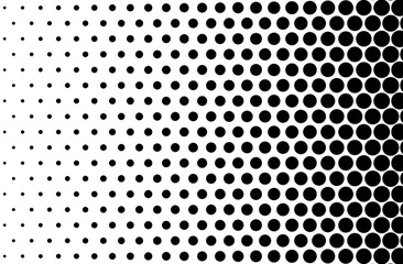 Basic halftone dots effect in black and white color. Halftone effect. Dot halftone. Black white halftone. Halftone background. Right to left.