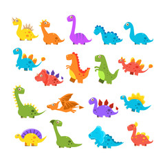 Cute Cartoon Dinosaurs Set