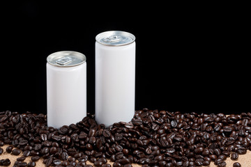coffeebeans around white can,
