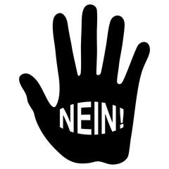 Warnend erhobene Hand mit dem Schriftzug NEIN! – schwarz-weiß / Vektor / freigestellt