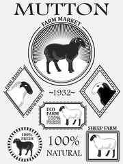 Set of premium lamb labels, mutton, badges and design elements. Vector