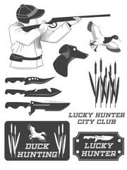 African hunter safari labels, emblems and design elements. Vector