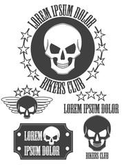 Set of vintage skull labels, badges and design elements. Vector