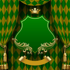 Green rhomboids background with a suspended decorative signboard
