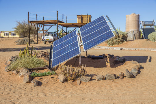 Solar panel in the Farm Gunsbewys  in southern Namibia