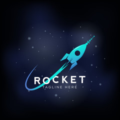 Rocket Space Ship Abstract Vector Sign, Icon or Symbol. Cosmic Background with Stars. Science, Startup, Launch Logo Template