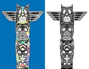 indian totem carved owl and scary faces