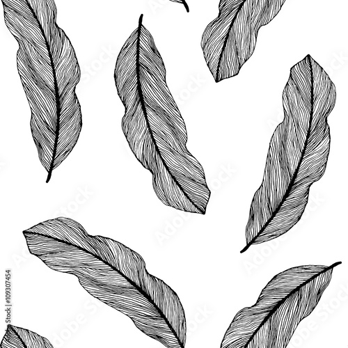 Vector Graphic Seamless Pattern From Silhouette Leaves Houseplant Hand Drawn In A Linear Style