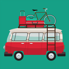 Camper van with bags and bicycle on roof bars. Summer vacation. Vector flat color design