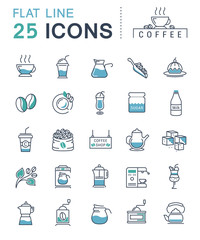 Set Vector Flat Line Icons Coffee