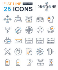 Set Vector Flat Line Icons Drones