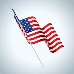 American Flag on Pole Waving Illustration