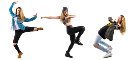 Pretty blonde woman dancing