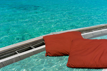 vacation net seat in the sea at Maldives