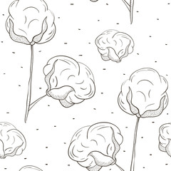 Seamless pattern with cotton. Black outline cotton bolls on white background. Ink hand drawn cotton balls