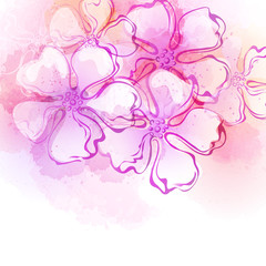 Decorative watercolor spring flower. Vector illustration
