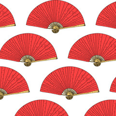 East seamless pattern. Vector hand drawn Japanese fan background