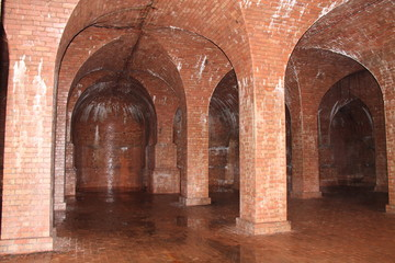 Brickwork of an Underground Water Storage Reservoir.
