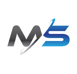 ms initial logo with double swoosh blue and grey