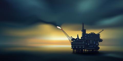 Plateforme pétrolière - crépuscule