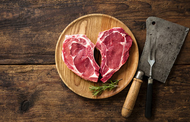Heart shape raw fresh veal meat steaks