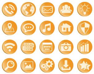 Orange web icons set