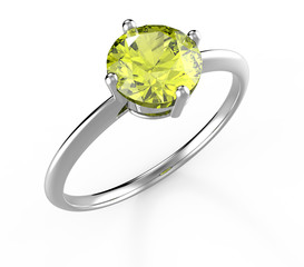 Wedding ring wiith diamond. 3D illustration