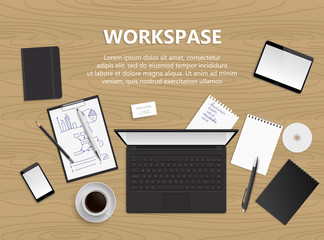 Realistic vector design illustration of modern business office and workspace. Top view of desk background. Workspace illustration.