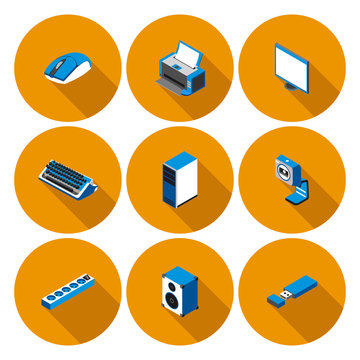 flat icons with accessories for personal computer