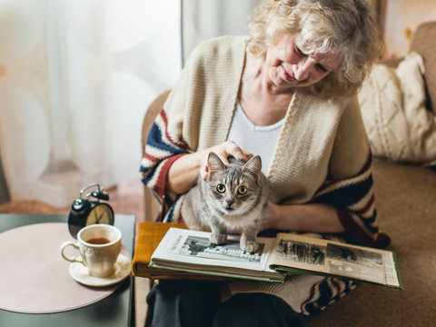 an elderly woman watching photo album with a cat on his lap