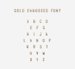 Gold embossed alphabet isolated, 3d illustration. Golden typing font design. Beveled symbols embossing on plastic card. Hammering chamfer type bar letters text. Grunge metallic lettering emboss fount