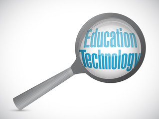 education technology magnify glass sign concept